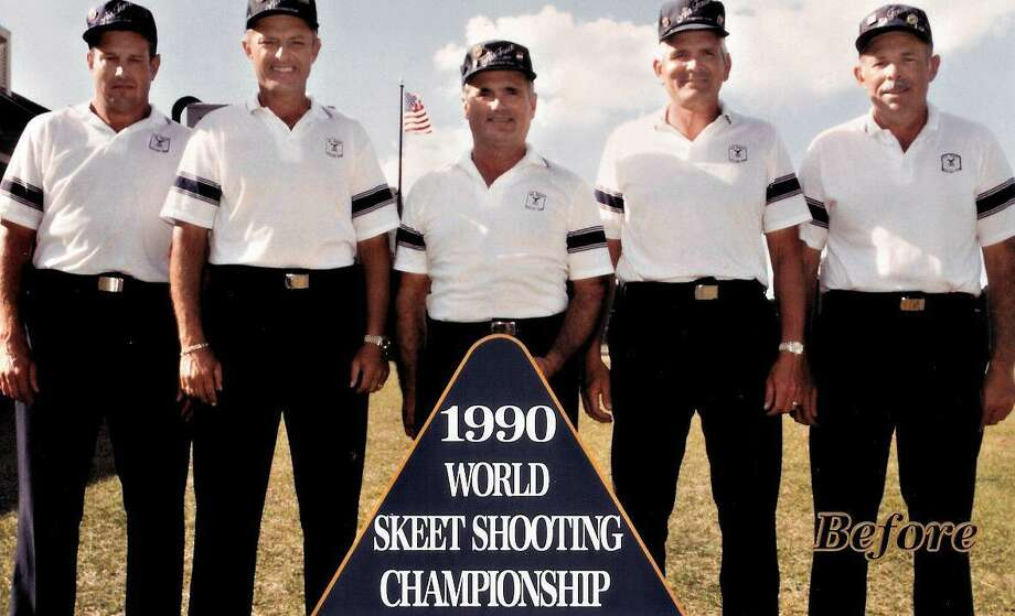 Then: The United States Air Force Skeet Team poses during the 1990 World Skeet Shooting Championship at what is now the National Shooting Complex on the northwest side of the city. They are (from left), Doug Repaal, Don Snyder, Gregg Paillex, Doug Coulter and Don Snyder. Photo: Courtesy Photo