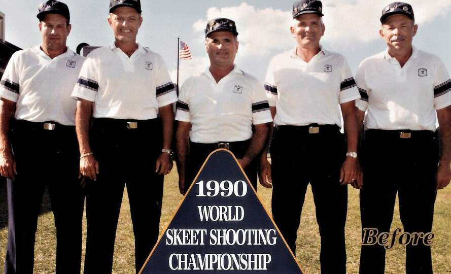 The United States Air Force Skeet Team poses during the 1990 World Skeet Shooting Championship at wh