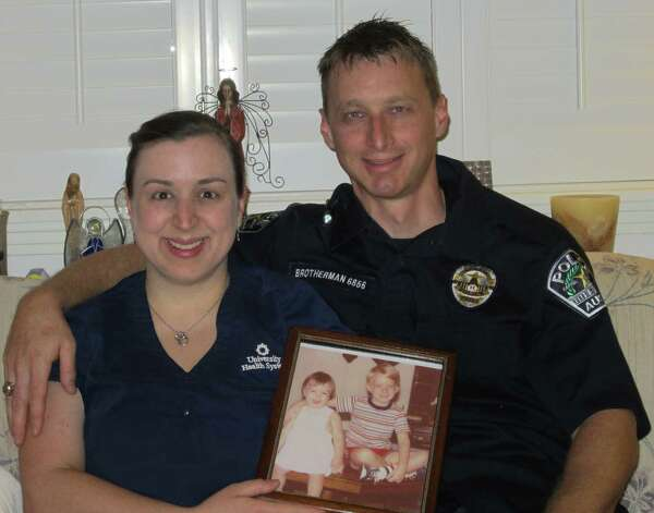 2012: Kristin Brotherman Navarro, RN, and Andrew Brotherman, APD (police officer), visit as often as their varying shifts provide time. Kristin is married to Anthony J. Navarro and they have a son, Aaron Jacon, 4. Photo: Susan Brotherman, Reader Submiss
