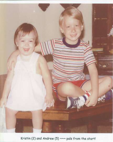 1982 photo -- Kristin (2) and Andrew (5) were pals from the beginning. Parents Susan and Trip Brothe