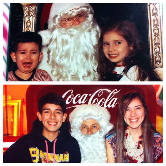 Anissa and Steven Sardelich meet Santa in 1999 and then again in 2012 (with Steven being much happie