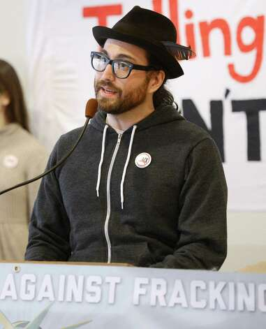 Sean Lennon, representing Artists Against Fracking, joined other activist groups as they held a press conference Jan. 11, 2013 in Albany, N.Y.     (Skip Dickstein/Times Union) Photo: SKIP DICKSTEIN / 00020738A