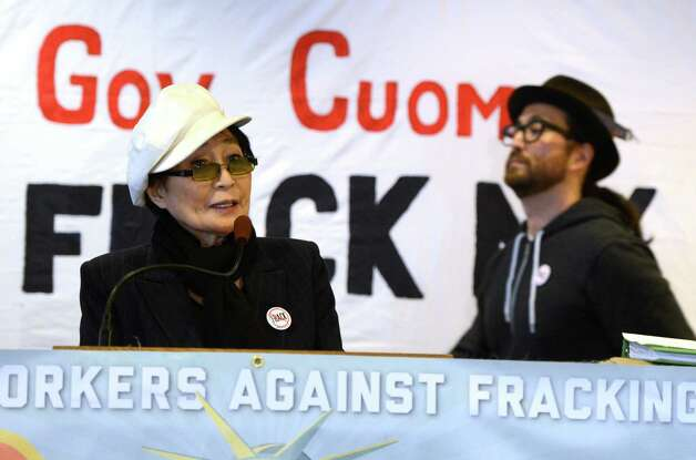 Yoko Ono, representing Artists Against Fracking, joined by her son Sean Lennon, right, and other activist groups during a press conference Jan. 11, 2013 in Albany, N.Y.     (Skip Dickstein/Times Union) Photo: SKIP DICKSTEIN / 00020738A
