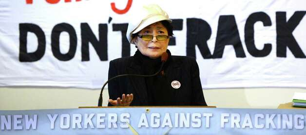 Yoko Ono, representing Artists Against Fracking, joined other activist groups during a press conference Jan. 11, 2013 in Albany, N.Y.     (Skip Dickstein/Times Union) Photo: SKIP DICKSTEIN / 00020738A