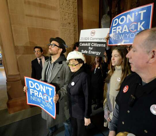 Sean Lennon and Yoko Ono, representing Artists Against Fracking, joined other activist groups as they went to the State Capitol Jan. 11, 2013 in Albany, N.Y.     (Skip Dickstein/Times Union) Photo: SKIP DICKSTEIN / 00020738A