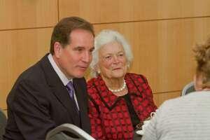 Jim Nantz and Former First Lady Barbara Bush at the Nantz National Alzheimer Center at the Methodist Neurological Institute.