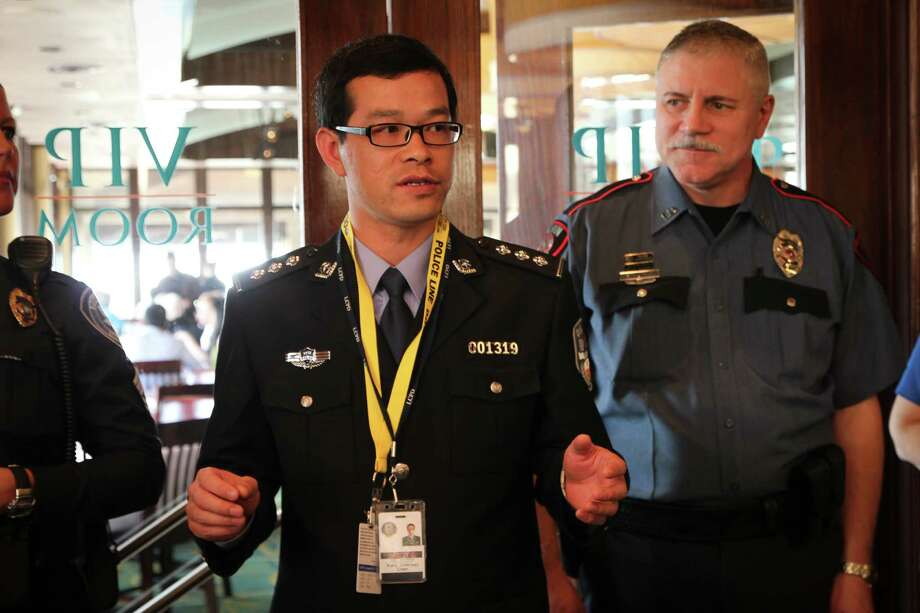 """Cadet Xiaoji """"Cheney"""" Chen kicks off the internship with a welcome speech at the opening luncheon. Photo: City Of League City"""