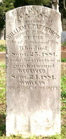 The grave of William E. Patterson, deputy marshal for the city of Beaumont, who was shot and killed by Pattillo Higgins, is in one of the oldest the sections of Magnolia Cemetery. His marker said he was killed during the discharge of his duties. Photo: Picasa