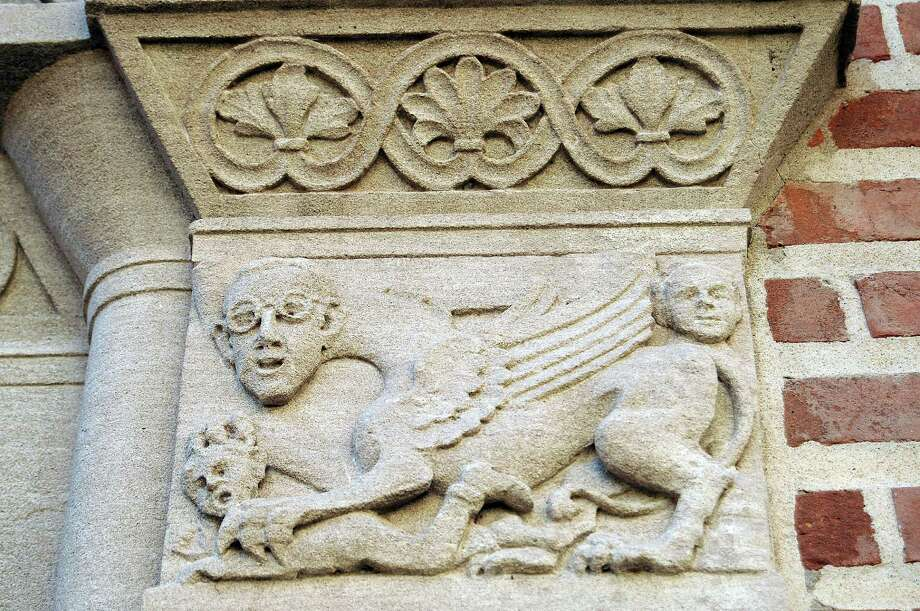 At Rice University, a relief portrays Harry B. Weiser, the head of the chemistry department in the 1920s, as a long-necked, winged monster devouring a student. Photo: Dave Rossman, Freelance / © 2012 Dave Rossman