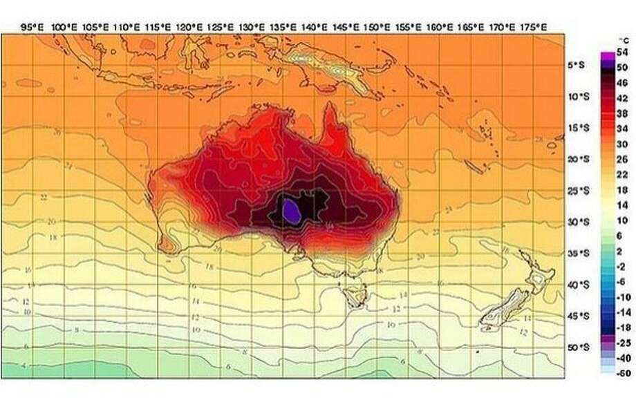 Australia's Bureau of Meteorology added two new colors to its temperature index map - hot pink and dark purple - in response to a heat wave that has hit record temperature levels. Photo: Australia Bureau Of Meteorology