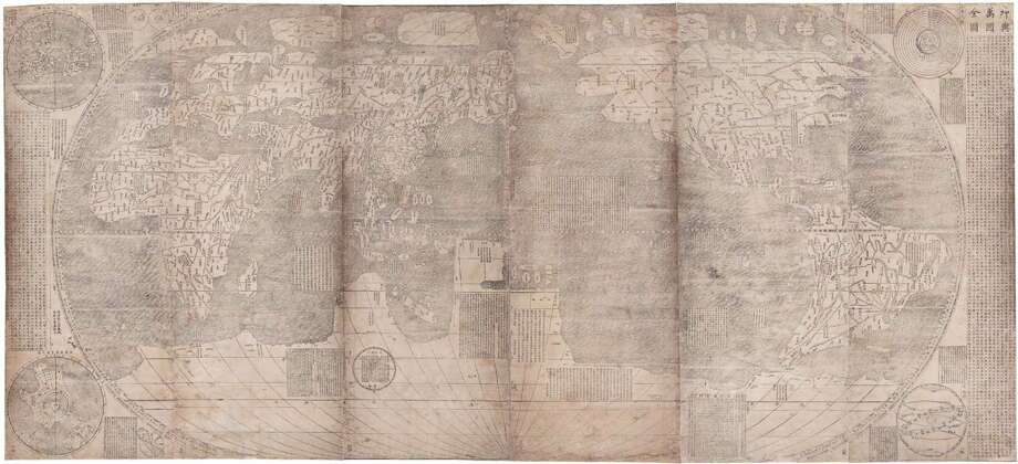 """Map of the Ten Thousand Countries of the Earth (Kunyu wanguo quantu)"" by Matteo Ricci Photo: James Ford Bell Trust"