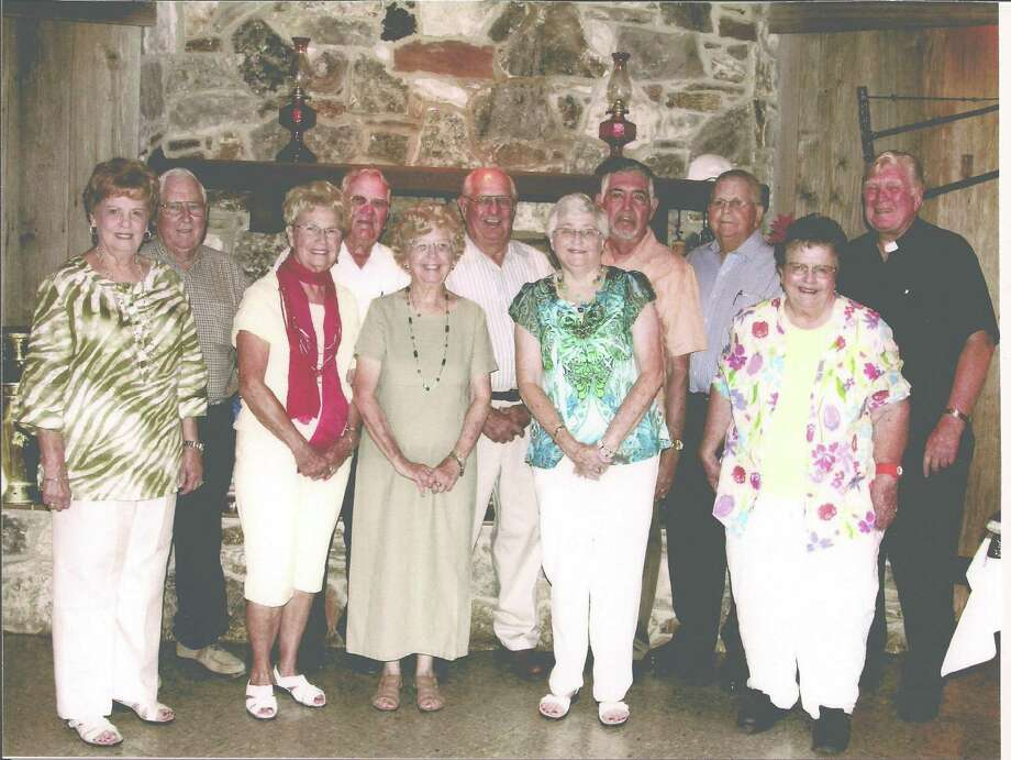 Now: The 1952 graduating class of St. Louis High School, Castroville on the 60th anniversary of their graduation in June, 2012. Front row: Shirley Bendele Holzhaus, Alfrene Stein Tschirhart, Merilyn Tschirhart Fields, Frances Hutzler Neumann, Catherine Fischer Jagge.
