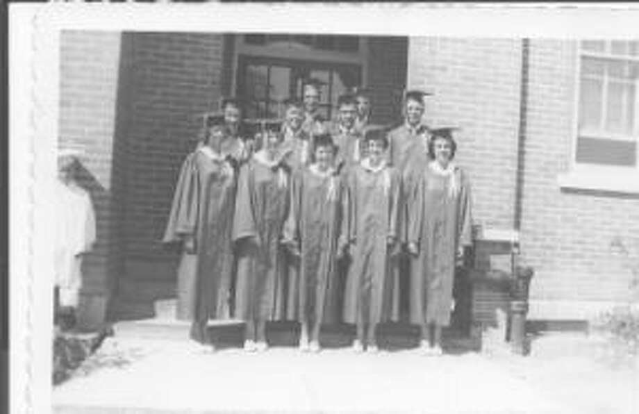 Then: The graduating class of St. Louis High School, Castroville in May, 1952. Front row: Shirley Bendele Holzhaus, Alfrene Stein Tschirhart, Merilyn Tschirhart Fields, Frances Hutzler Neumann, Catherine Fischer Jagge.