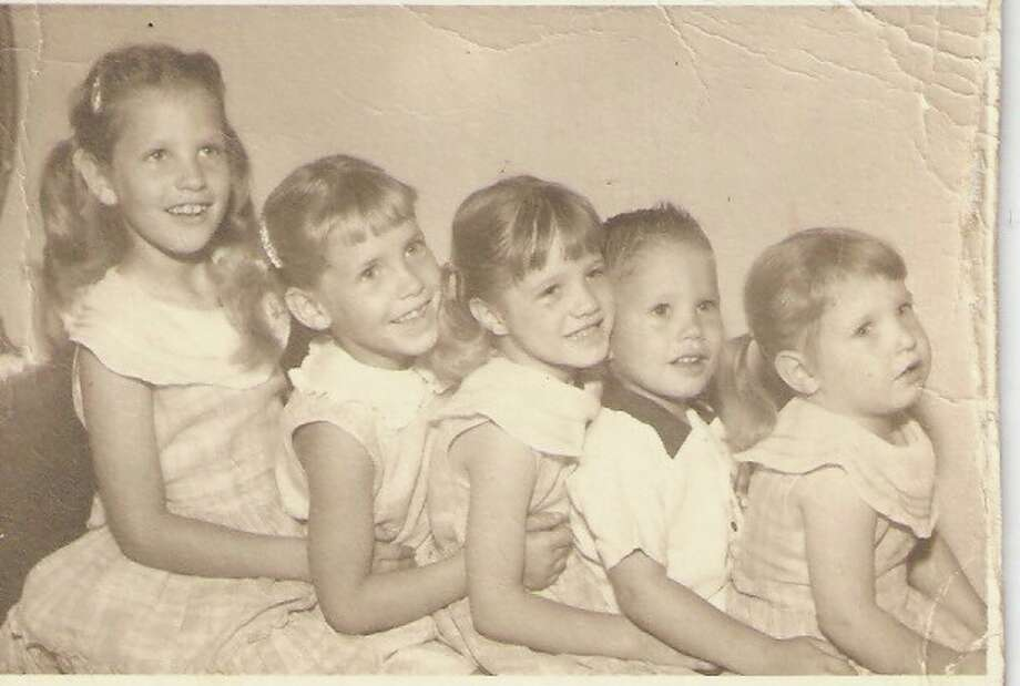 Then: The five youngest children (of eight) of Richard and Jeanette Hooge, in San Antonio, 1958. From left, Marilyn, Beverly, Rita, David, and Kathleen.