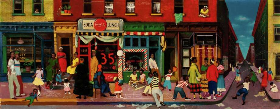 "The work of artist Colleen Browning (1918-2003) will be celebrated with two exhibitions Jan. 24-March 24 in Fairfield. Above is ""East Harlem Street Scene,"" an oil on canvas, from 1953. Photo: Contributed Photo / Connecticut Post Contributed"