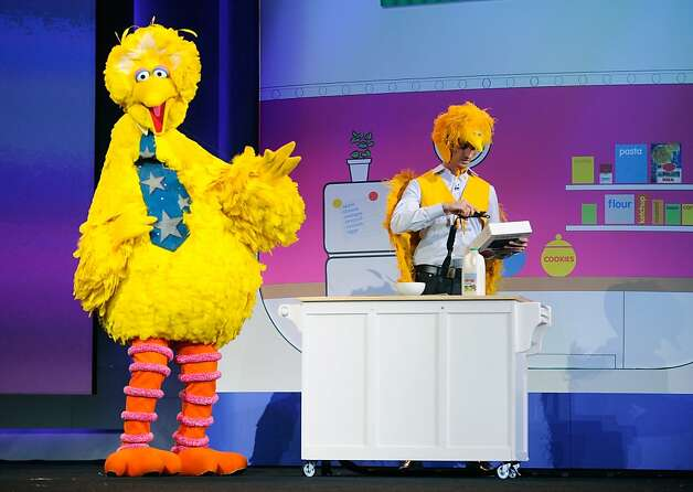 LAS VEGAS, NV - JANUARY 07:  Big Bird of Sesame Street appears on stage during a keynote address at the 2013 International CES at The Venetian on January 7, 2013 in Las Vegas, Nevada. CES, the world's largest annual consumer technology trade show, runs from January 8-11 and is expected to feature 3,100 exhibitors showing off their latest products and services to about 150,000 attendees.  (Photo by David Becker/Getty Images) Photo: David Becker, Getty Images