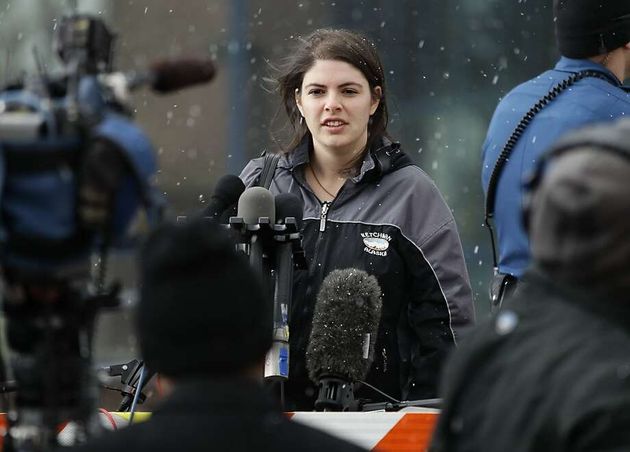 Jessica Watts, whose cousin was among 12 people killed in a July mass shooting inside a movie theater in suburban Denver, discusses the court proceedings in Centennial, Colo. Photo: Brennan Linsley, Associated Press