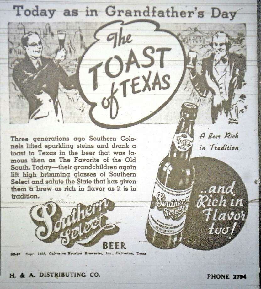 "This ad for Southern Select Beer from H & A Distributing Co. boasts how it was drank by ""Southern Colonels"" three generations ago and was a favorite of the old south then and now.  On January 8, 1938, this ad appeared in the Beaumont Enterprise on page two.  Notice the phone number, just four numbers.  Dave Ryan/The Enterprise"