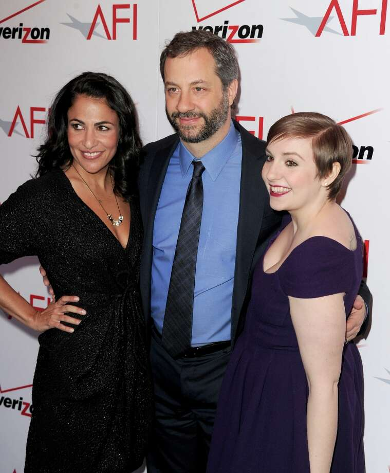 (L-R) Writer/producer Jennifer Konner, writer/director Judd Apatow, and writer/actress Lena Dunham attend the 13th Annual AFI Awards at Four Seasons Los Angeles at Beverly Hills on January 11, 2013 in Beverly Hills, California. Photo: Kevin Winter, Getty Images / 2013 Getty Images