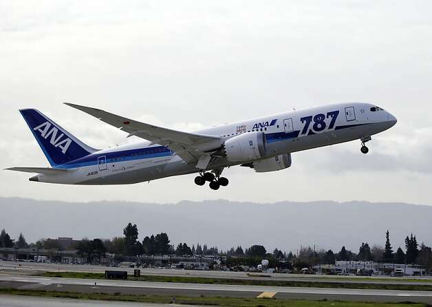 On Friday, Jan. 11, All Nippon Airways reported that it found a very small amount of oil leaking from an engine of one 787 flying from southern Japan's Miyazaki airport to Tokyo. The jet returned to Miyazaki, and after checks found no safety risk it flew to Tokyo. This picture shows ANA's first nonstop flight from San Jose to Tokyo taking off from the San Jose International Airport on Friday. Photo: Marcio Jose Sanchez, Associated Press
