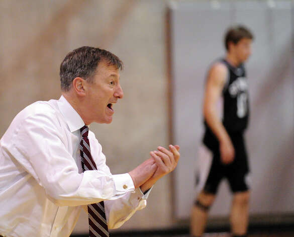 St. Luke's basketball coach Brian Kriftcher during boys high school basketball game between Brunswick School and St. Luke's at Brunswick in Greenwich, Friday night, Jan., 11, 2013. Photo: Bob Luckey / Greenwich Time