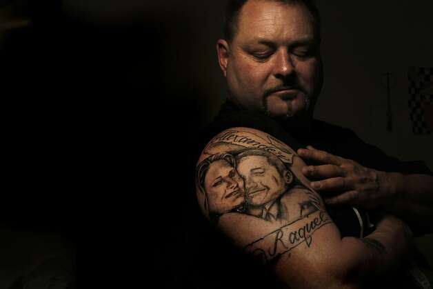 Barton Gerstel shows the tattoo he had done of his deceased daughter, Raquel, and his son, Alex. Raquel and a friend were shot dead in Oakland in November. Photo: Michael Macor, The Chronicle