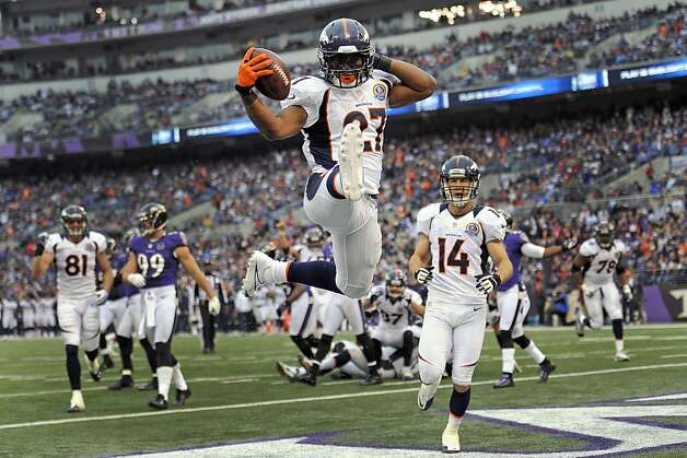 Denver's Knowshon Moreno celebrates a touchdown in the Broncos' 34-17 victory in Baltimore on Dec. 16. Photo: Nick Wass, Associated Press