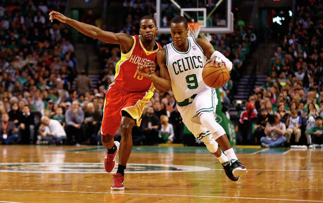 Jan. 11: Celtics 103, Rockets 91Celtics point guard Rajon Rondo dribbles the ball past Toney Douglas of the Rockets. Photo: Jared Wickerham / 2013 Getty Images