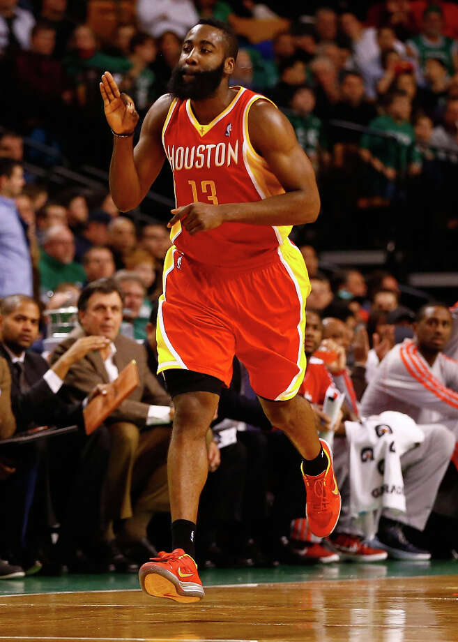 Rockets shooting guard James Harden celebrates a made 3-pointer. Photo: Jared Wickerham / 2013 Getty Images