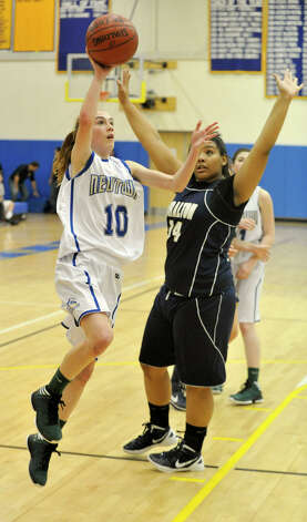 Newtown's Sarah Lynch shoots an uncontested layup during the Nighthawk's game against Lauralton Hall at Newtown High School on Friday, Jan. 11, 2013. Lauralton Hall won, 50-44. Photo: Jason Rearick / The News-Times