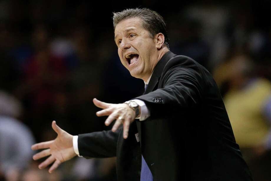 Kentucky head coach John Calipari yells to his players in the second half of an NCAA college basketball game against Vanderbilt on Thursday, Jan. 10, 2013, in Nashville, Tenn. Kentucky won 60-58. (AP Photo/Mark Humphrey) Photo: Mark Humphrey