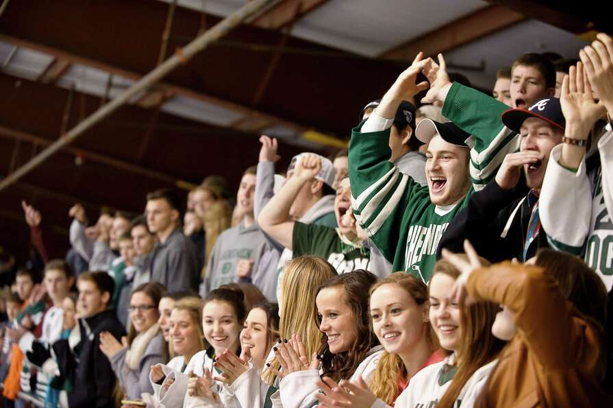 Shenendehowa fans cheer on their team,  Friday night, Jan. 11, 2013, at  Clifton Park Arena in Clift