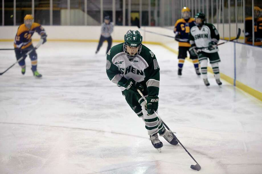 Shenendehowa hockey player Peter Sacks, #10, moves down the ice  Friday night, Jan. 11, 2013, at  Clifton Park Arena in Clifton Park, N.Y. during the hockey game against CBA. (Eric Jenks /Special to the Times Union) Photo: Eric Jenks