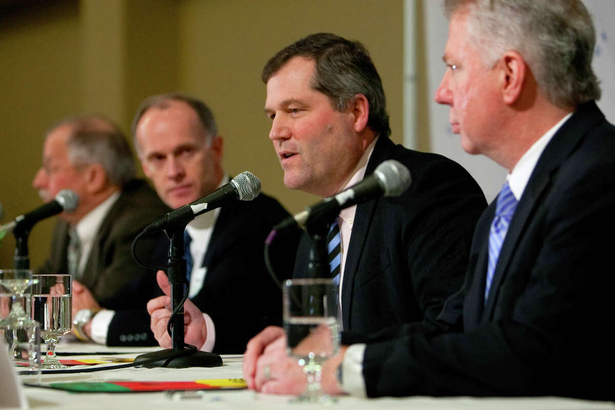 From left, Rep. Frank Chopp, Sen. Rodney Tom, Rep. J.T. Wilcox and Sen. Ed Murray address an audience during City Club's Legislative Preview luncheon on Friday, January 11, 2013 at the Seattle Sheraton.