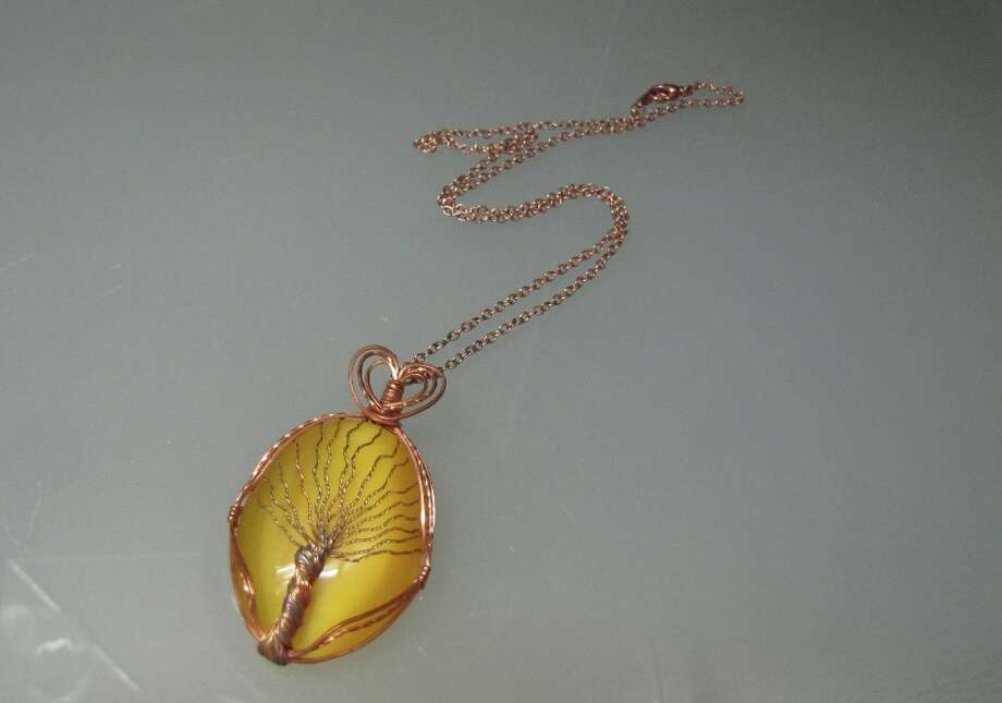 Fiber Optic Cat's Eye pendant necklace, DeeCee's Wire Wonders, $65