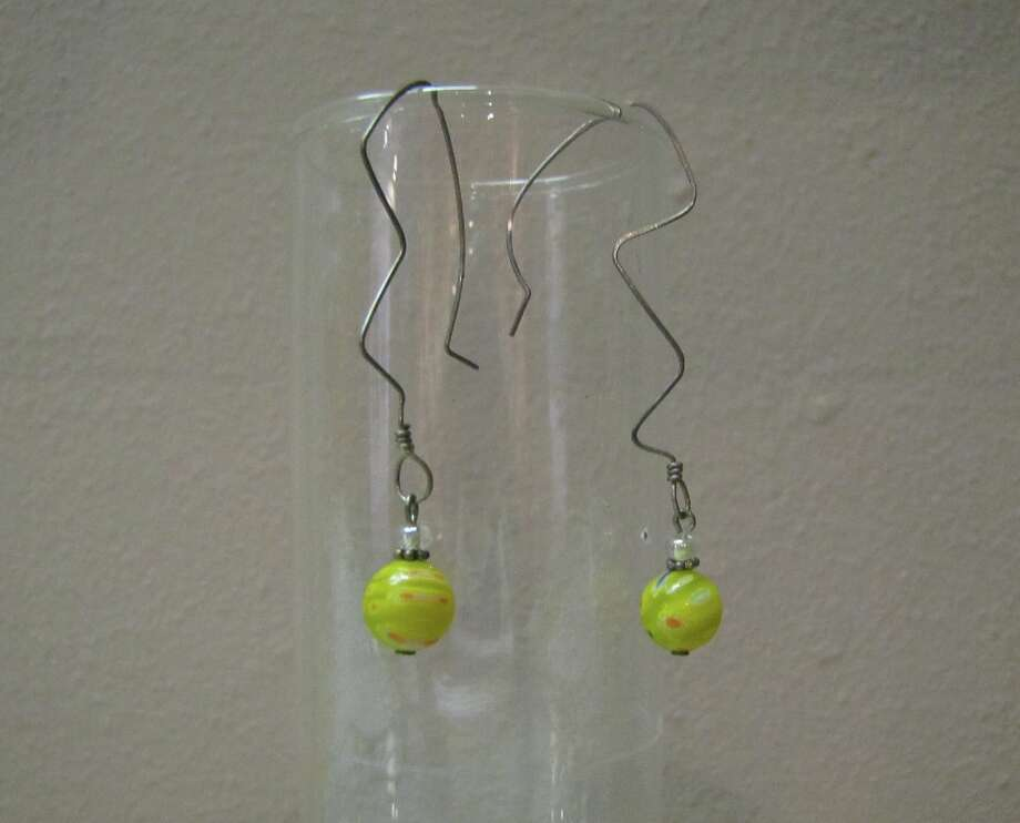 Wire and glass bead earrings, Angela Burch, $22