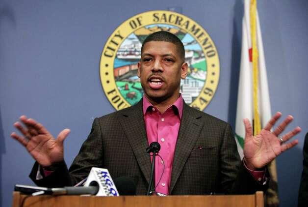 Sacramento Mayor Kevin Johnson speaks during a news conference in Sacramento, Calif., on Wednesday. People with knowledge of the situation said that investor Chris Hansen has contacted the Maloof family about buying the Sacramento Kings basketball team, setting up the possibility of the NBA's return to Seattle. Rumors swirled all week with nothing definite being reported. Photo: AP