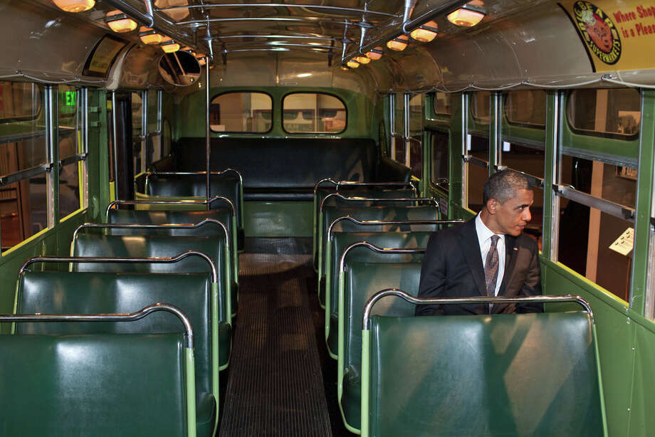 April 18, 2012We were doing an event at the Henry Ford Museum in Dearborn, Mich. Before speaking, the President was looking at some of the automobiles and exhibits adjacent to the event, and before I knew what was happening he walked onto the famed Rosa Parks bus. He sat in one of the seats, looking out the window for only a few seconds. (Official White House Photo by Pete Souza)