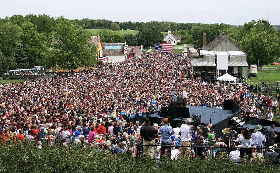 Sept. 1, 2012The overview of a campaign rally in Urbandale, Iowa. This view was from a scissors lift just above the press stand. (Official White House Photo by Pete Souza)