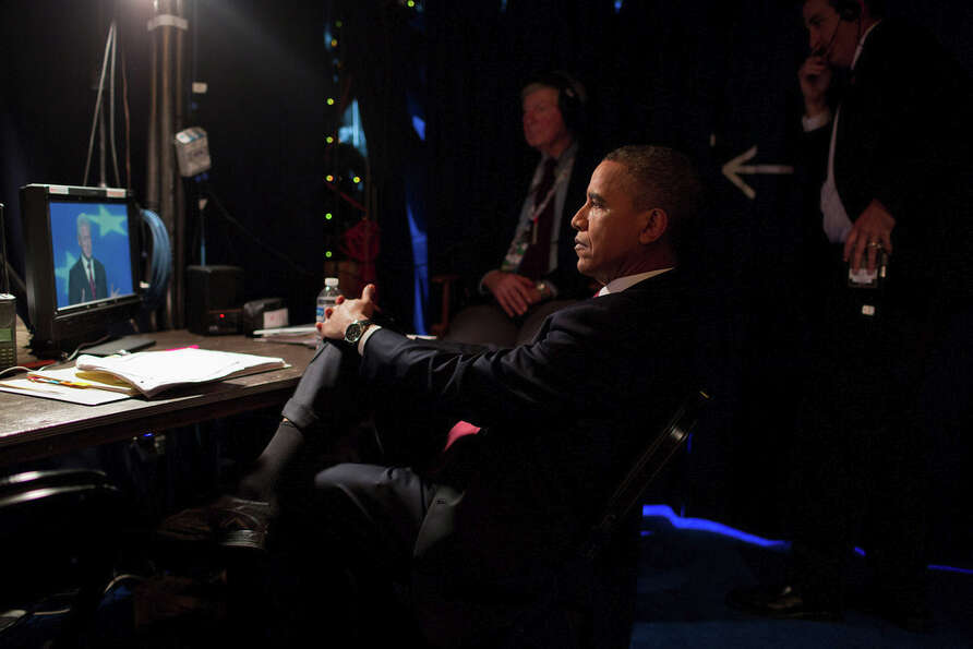 Sept. 5, 2012Backstage at the Democratic National Convention, the President watches as former P