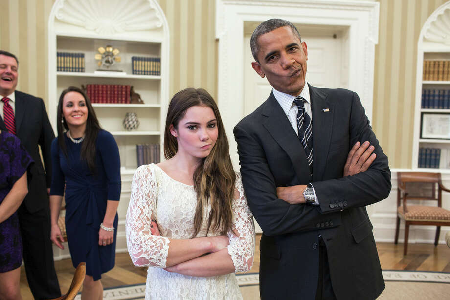 Nov. 15, 2012The President had just met with the U.S. Olympics gymnastics team, who because of a previous commitment had missed the ceremony earlier in the year with the entire U.S. Olympic team. The President suggested to McKayla Maroney that they recreate her 'not impressed' photograph before they departed. (Official White House Photo by Pete Souza)