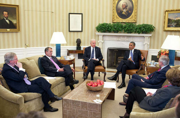 Dec. 28, 2012After returning early from his Christmas vacation, the President with the Vice President meets in the Oval Office with the leadership of Congress to discuss the fiscal cliff. (Official White House Photo by Pete Souza)