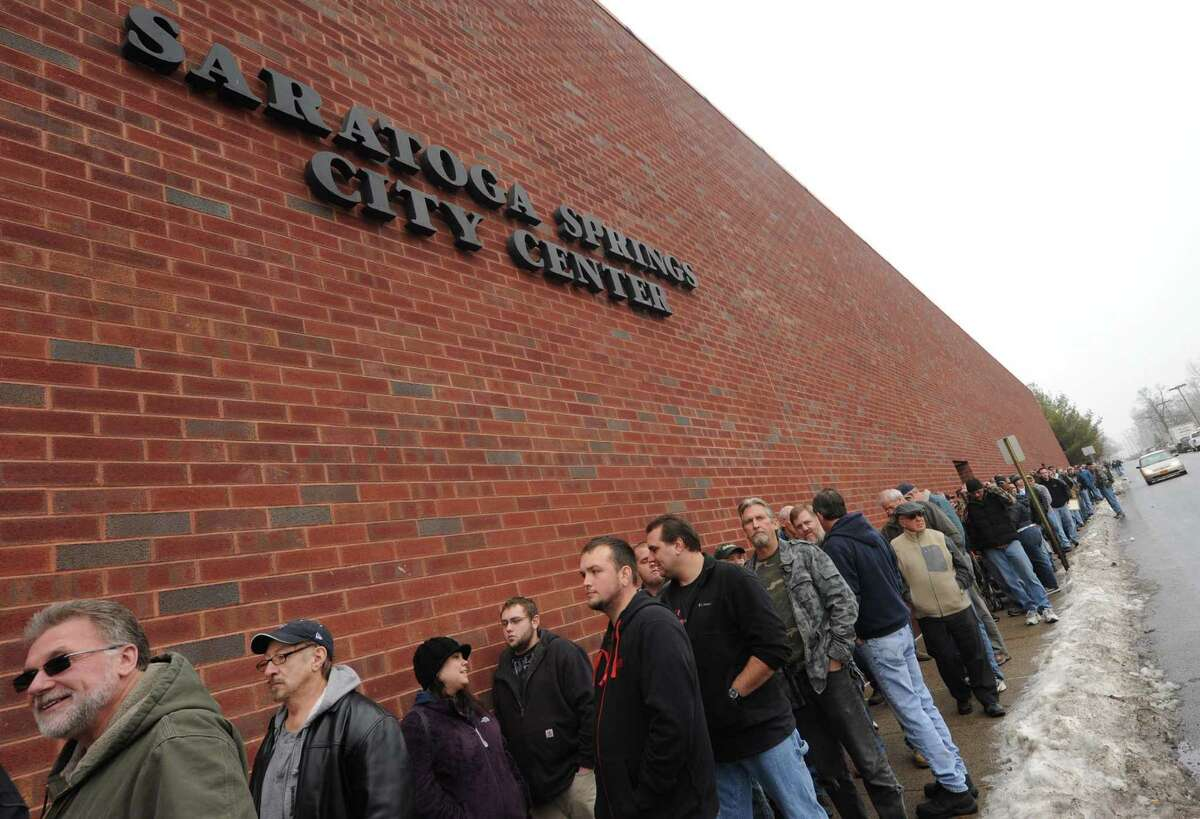 A line block long outside the Saratoga Springs City Center to enter the Saratoga Springs gun show on Saturday Jan. 12,2013 in Saratoga Springs, N.Y. (Michael P. Farrell/Times Union)