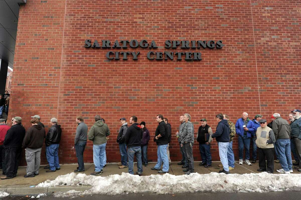 A line blocks long outside the Saratoga Springs City Center to enter the Saratoga Springs gun show on Saturday Jan. 12,2013 in Saratoga Springs, N.Y. (Michael P. Farrell/Times Union)