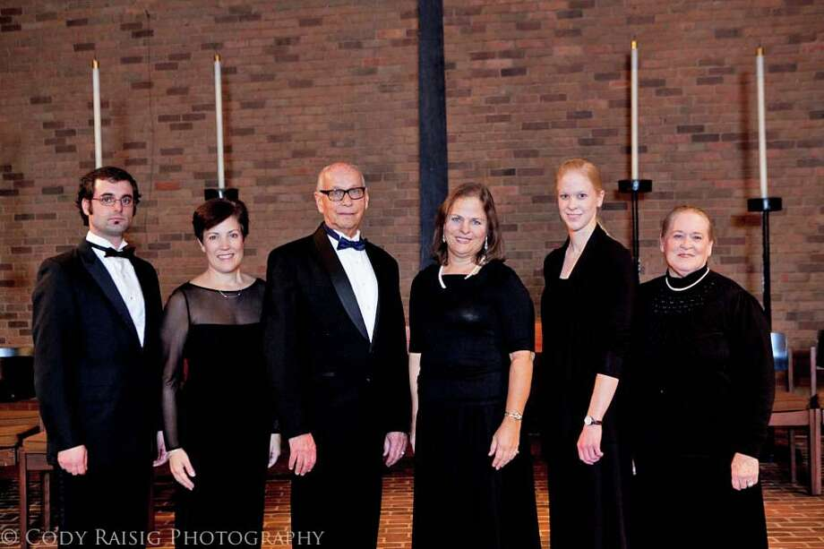 The New Canaan residents who are members of Pro Arte Singers are, from left, Matthew Vitti, Carol Barbour, Maestro Arthur Sjogren, Ellen Taylor Sisson, Melissa Tate and Sherry Tate. Photo: Contributed