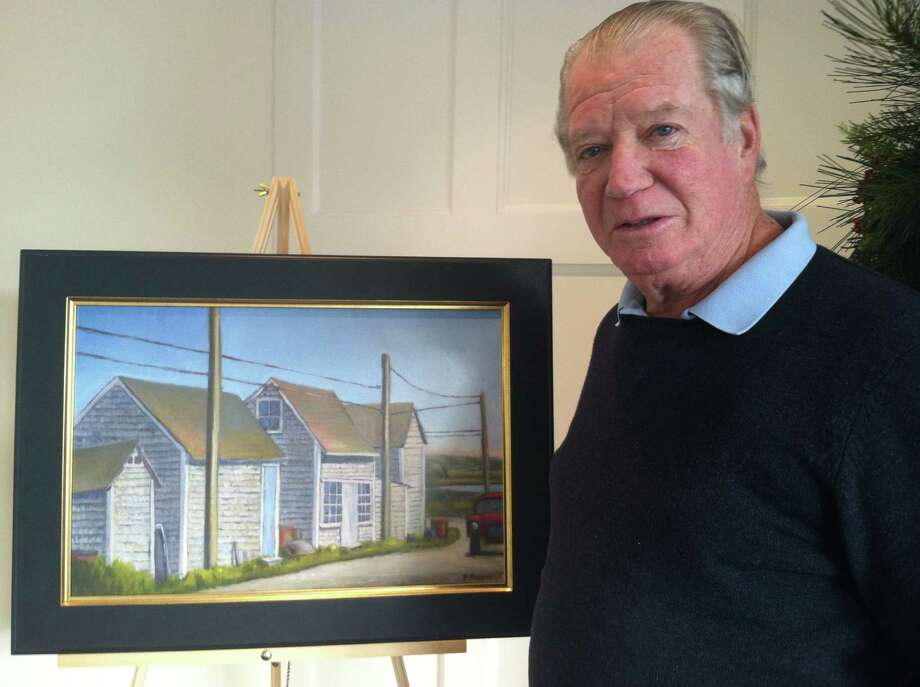 "The paintings of Tom Ranges, including ""Menemsha Fishing Shacks,"" will be on display at the Darien branch of the Darien Rowayton Bank through January. Photo: Contributed"