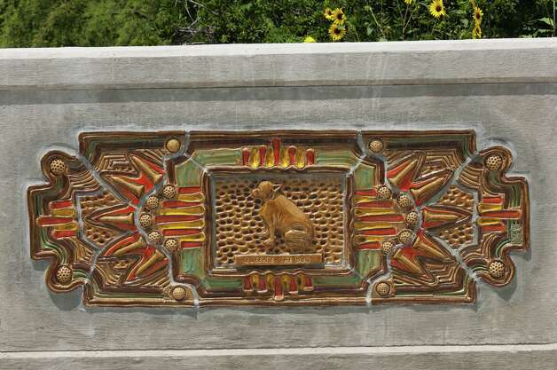 "Diana Kersey's Millrace Bridge project includes a ceramic rendering of Queenie, a dog described as a ""bit of canine sunshine"" who is memorialized at Brackenridge Park. Photo: Ansen Seale, Seale Studios / SEALE STUDIOS"