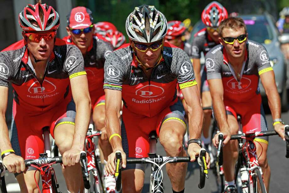 Seven-time Tour de France winner Lance Armstrong of the US, center, trains with his teammates on the rest day of the Tour de France cycling race in Morzine-Avoriaz, France, Monday, July 12, 2010.   (AP Photo/Bas Czerwinski) Photo: Bas Czerwinski, Associated Press / AP