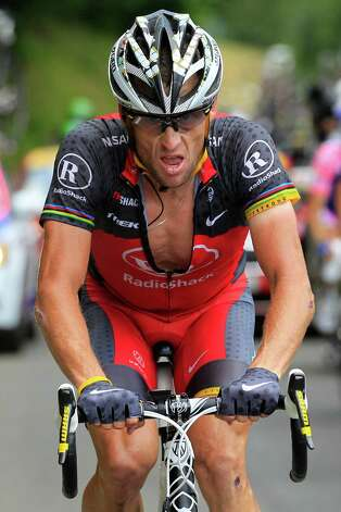 Lance Armstrong riding towards Pau during the 16th stage of the Tour de France cycling race, from Bagneres-de-Luchon to Pau, France.   (AP Photo/Bas Czerwinski) Photo: Bas Czerwinski, Associated Press / AP