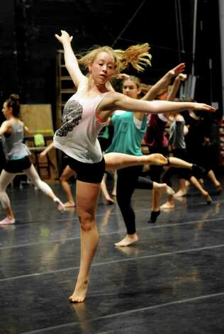 Kelsey Hartfelder, 15, dances in Saturday's intermediate level master class during DanceFest at the Palace Theatre in Stamford on January 12, 2013. Photo: Lindsay Perry / Stamford Advocate